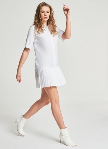Pi π Piliseli Gömlek Elbise Beyaz
